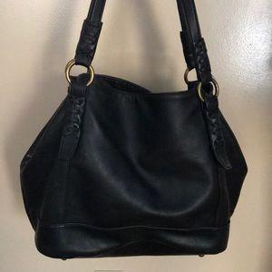 Black leather Bass purse/shoulder bag metal accent